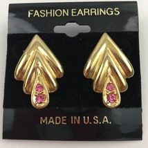 Vintage Pink Crystal Rhinestone Gold Tone Earrings Elegant NOS 80s 90s - $14.80