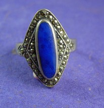 Vintage Large Lapis RIng Sterling Silver Gypsy artisan fine jewelry Spar... - $110.00