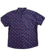 Molokai Surf Men Size XL Navy Blue Flamingo Dot Shirt Short Sleeve 100% Cotton - $29.70