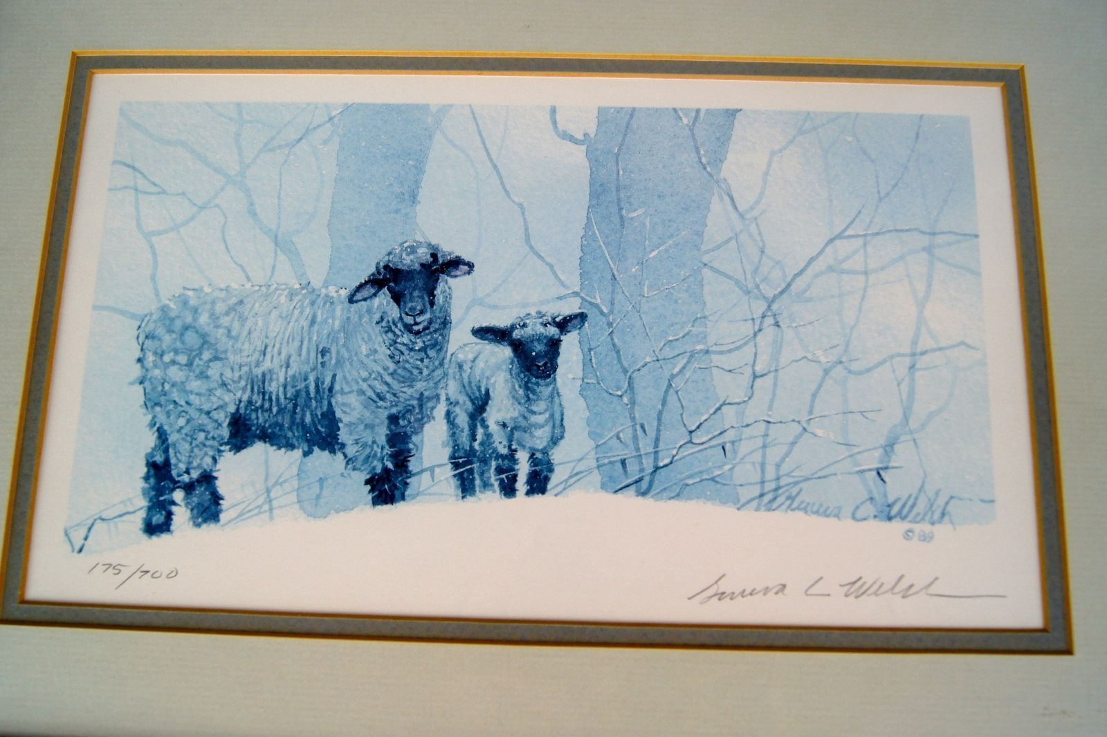 Geneva Welch Print Signed and Numbered 175/700 1989 Framed Shabby Chic Sheep
