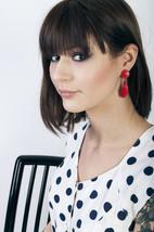 Red plastic earrings 80s retro shell shaped clip on earrings - $12.31