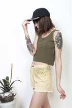 Military green top 90s knitted sleeveless vintage crop top - $27.55
