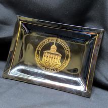 1964 MacArthur Memorial Glass Ashtray Candy Dish Gold Trim Smokey Quartz - $25.66