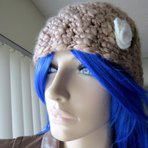 Jones New York Knitted Crocheted Pink Peach Open Knit Beanie With Rosett... - $19.55 CAD