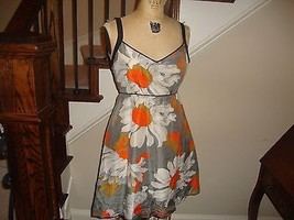 Anthropologie Moulinette Soeurs Navy & Orange Floral Print Silk Dress 2 ... - $32.61