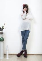 Knitted white jumper 90s sheer long sleeved vintage top - $43.94