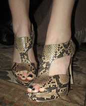 Sexy Nine West Beige Pink Snakeskin Print Strapped Heels Stilettos Sz 9.... - $28.01