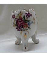 """Vintage """"Cracked"""" Egg Shaped Hand Painted Porcelain Three Legged Vase - $10.50"""