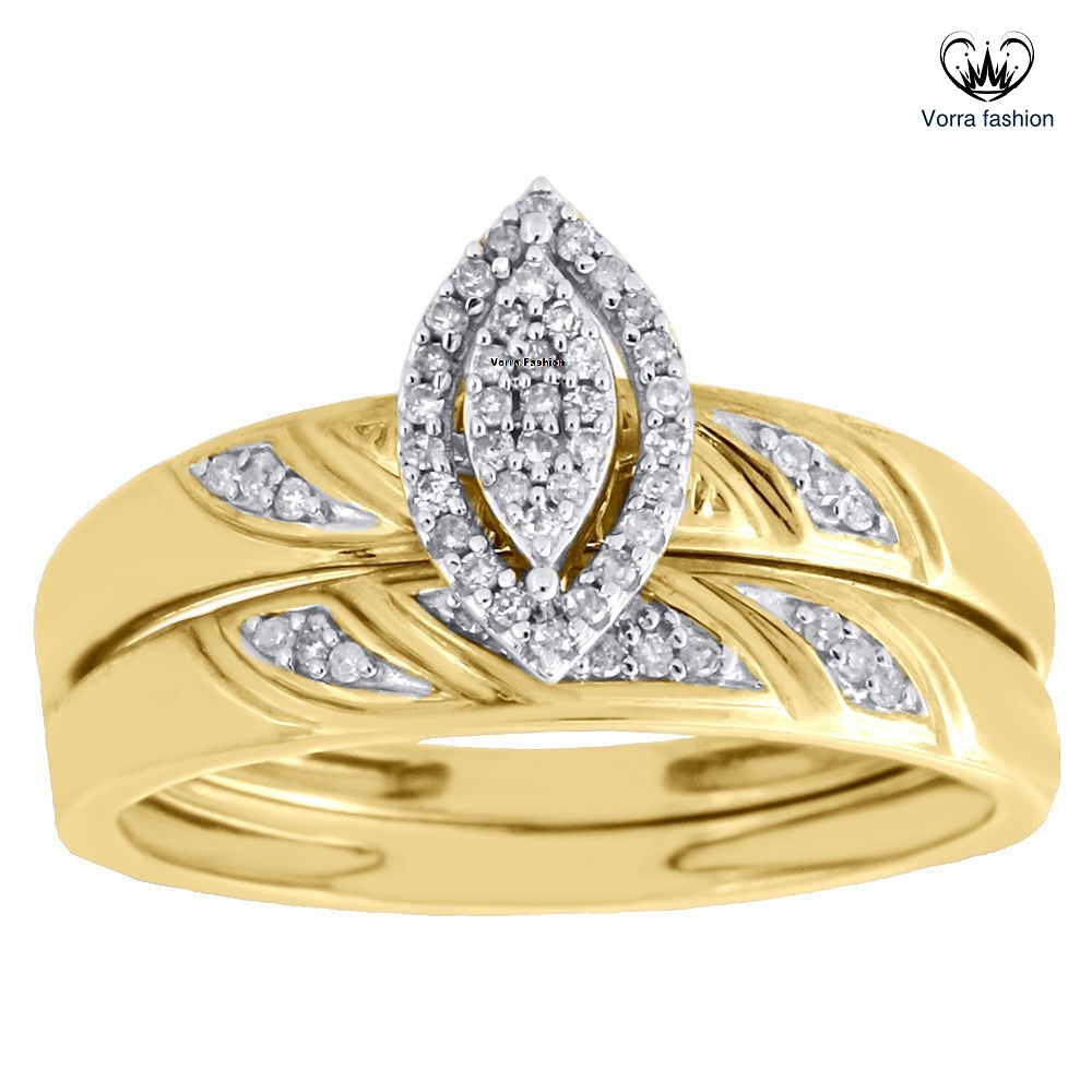 Bridal Engagement Ring Set Diamond Yellow Gold Plated Pure 925 Sterling Silver