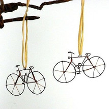 Set of Two Handmade Wire Bicycle Ornaments - Cr... - $4.95