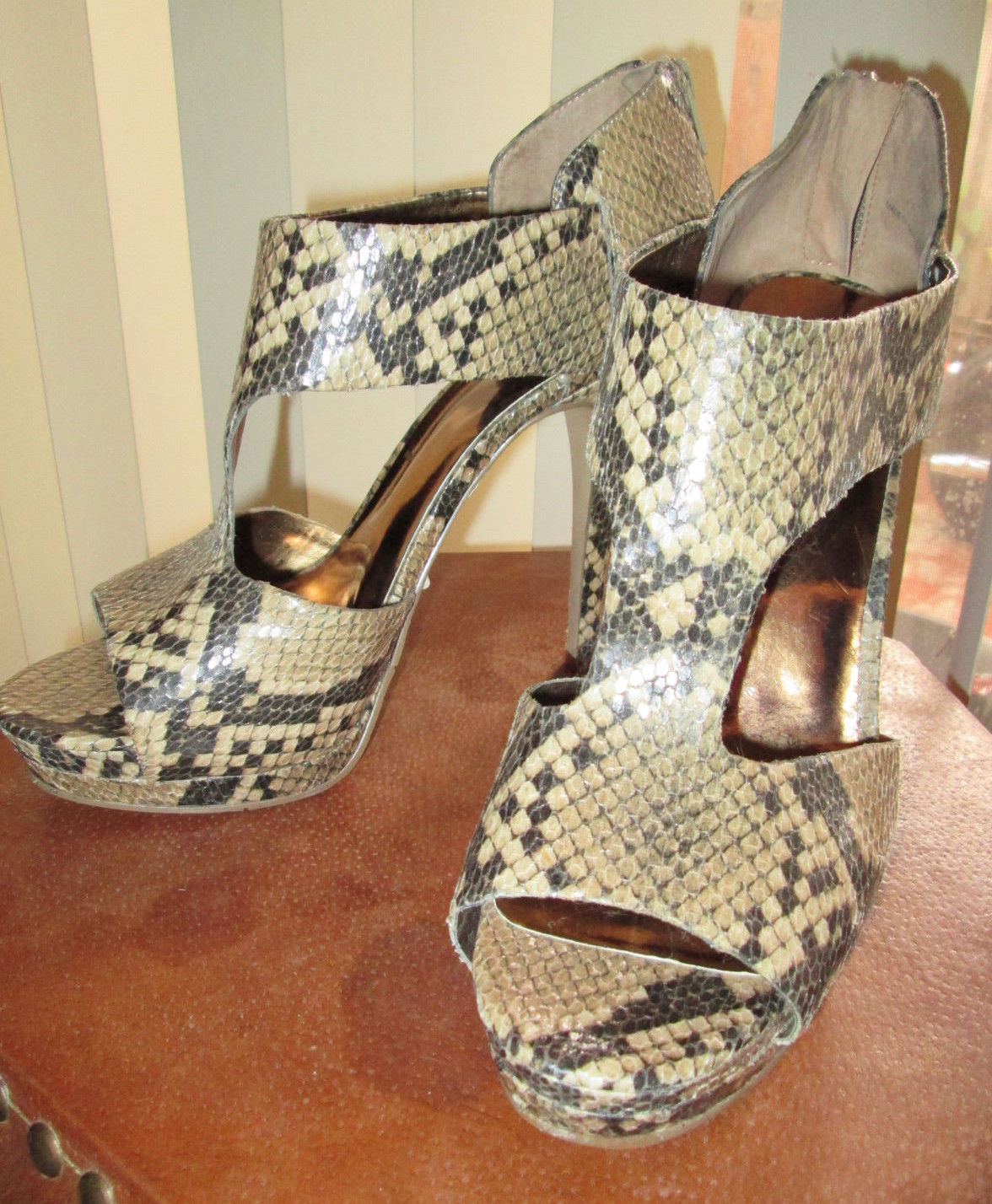 Sexy Nine West Beige Pink Snakeskin Print Strapped Heels Stilettos Sz 9.5 9 West