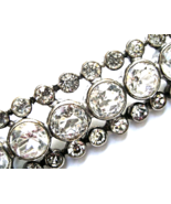 Art Deco Cut Crystal Brooch Open Back Paste Rhinestone Silver Bar Pin - $29.00