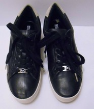 MICHAEL KORS Women's LEATHER Casual Running Shoes Sneakers Black Lace Up... - $59.95