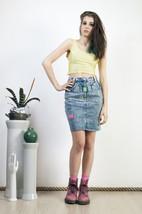 Blue denim skirt 90s neon detailed retro mini skirt - $39.93