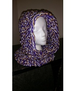 Hooded Neck Warmer Handmade/Purple & Gold - $40.00