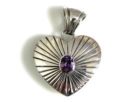 Sterling Silver Native American Handmade Amethyst Heart Pendant Contempo... - $135.38