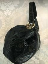 MICHAEL MICHAEL KORS Black Snake Print Textured Suede Shoulder Bag $350 - $117.71
