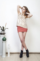 Pale gold blouse 50s ribbon ornamented shiny vintage top - $34.08