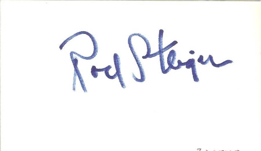 Rod steiger autograph movie star actor hollywood 3x5 card