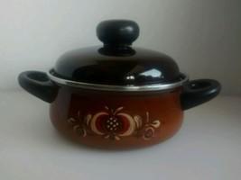 """Vintage 7"""" enamel pan pot 2 handle brown painte... - $19.98"""