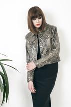Snakeskin leatherette jacket 90s vegan leather biker jacket - $51.83
