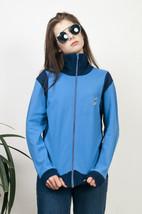 Blue sport jumper 80s two toned zipped retro jumper - $38.31