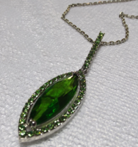 "Green Swarovski Crystal Pendant Necklace 20"" to 22"" - $12.50"