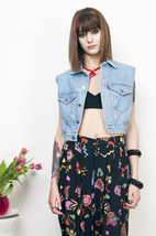Blue denim vest 90s short cut grunge vintage festival top - $33.58