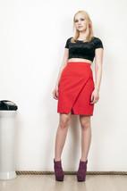 Red mini skirt 80s high waisted slashed vintage skirt - $38.31