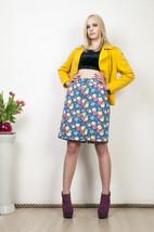 Blue floral skirt 90s high waisted button front skirt - $38.31