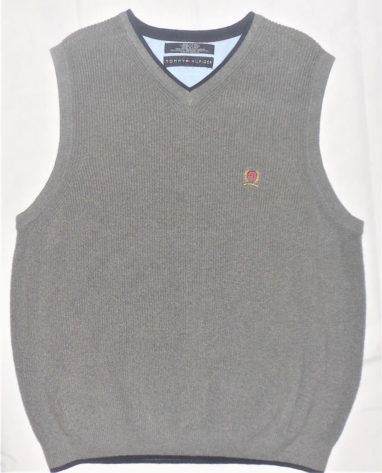 Tommy Hilfiger M Gray Knit V-Neck 100% Cotton Pullover Sleeveless Sweater Vest