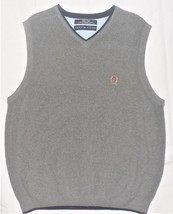 Tommy Hilfiger M Gray Knit V-Neck 100% Cotton Pullover Sleeveless Sweate... - $19.78