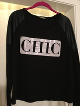 CHIC Black I. Joah Sweater Top Black Faux Vegan Leather Sleeves Size M