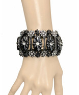 """2"""" Wide Floral Victorian Inspired Gunmetal Statement Chunky Bracelet, Chic Goth - $24.70"""