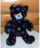 "Build-A-Bear Plush 14"" Black Bear Night Time Bright Colorful Lucky Stars - $8.79"