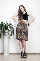 Printed pleated skirt 80s elastic brown high waisted midi - $38.31