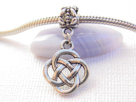Cute Silver Tone Round Irish Celtic Knot Slider Clip Dangle Charm fits Bracelets - $6.12