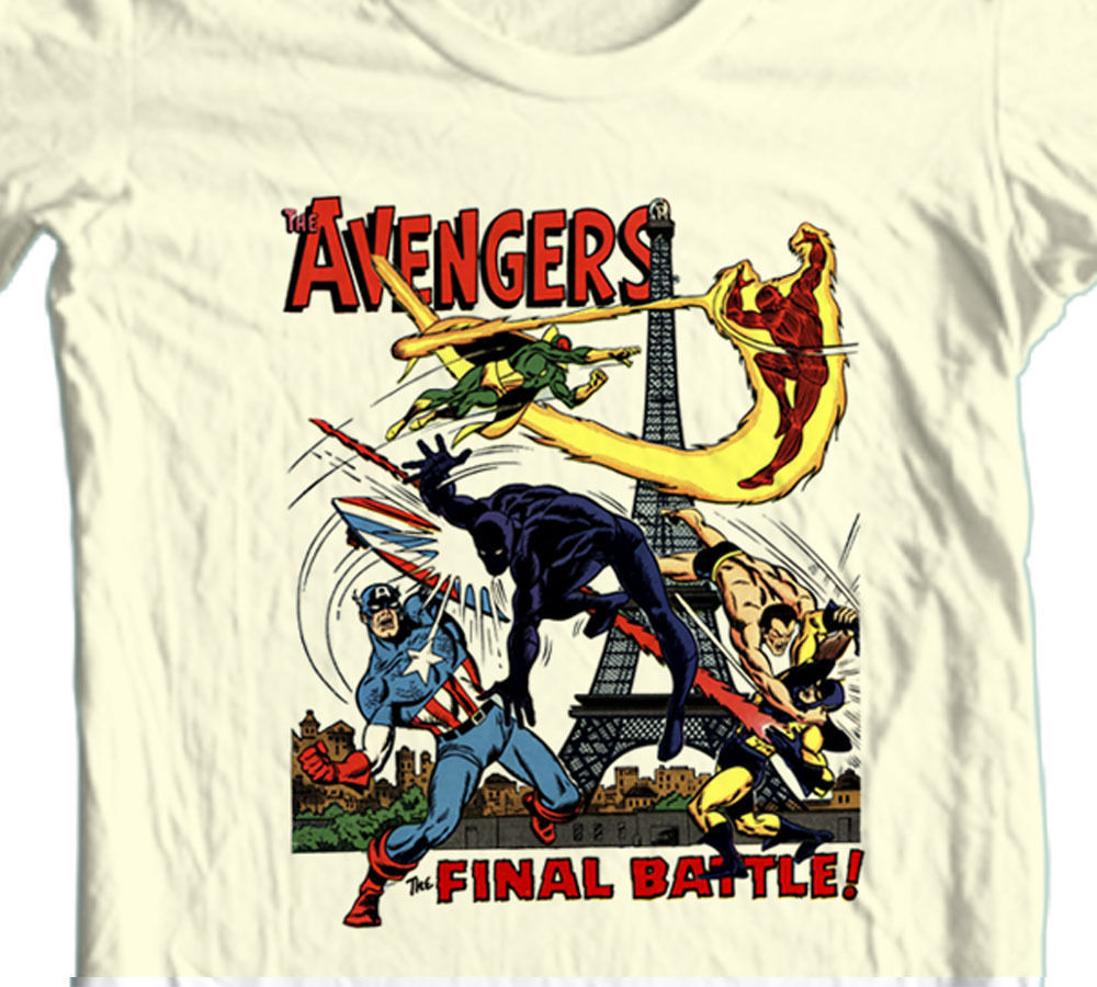 Avengers FINAL BATTLE T-shirt retro 70's Marvel Vision Black Panther cotton tee
