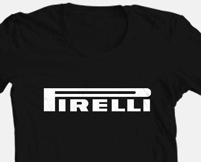 Pirelli T shirt tire motor punk rockabilly black 100% cotton graphic printed tee