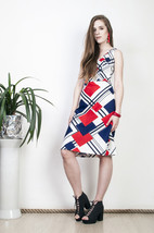 60s vintage geometric mod blue  &  red checked midi dress - $38.31