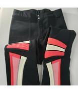 Vintage 80s Obermeyer Wool Stretch Ski Snow Pants Black Neon Pink 32 - $128.65