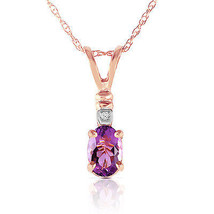 "14K Solid Rose gold fine Necklace 16-24"" wgenuine Diamond & Purple Amethyst - $141.98+"