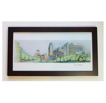 Downtown Omaha NE pencil Drawing Print Limited Edition nebraska cityscape - $40.00+