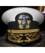 US NAVY COMMANDER ADMIRAL RANK WHITE HAT CAP NEW Size 56, 57, 58, 59, 60... - $122.00