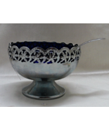 Vintage Celtic Quality Silver Plate With Cobalt Blue Glass Liner Condime... - $14.25