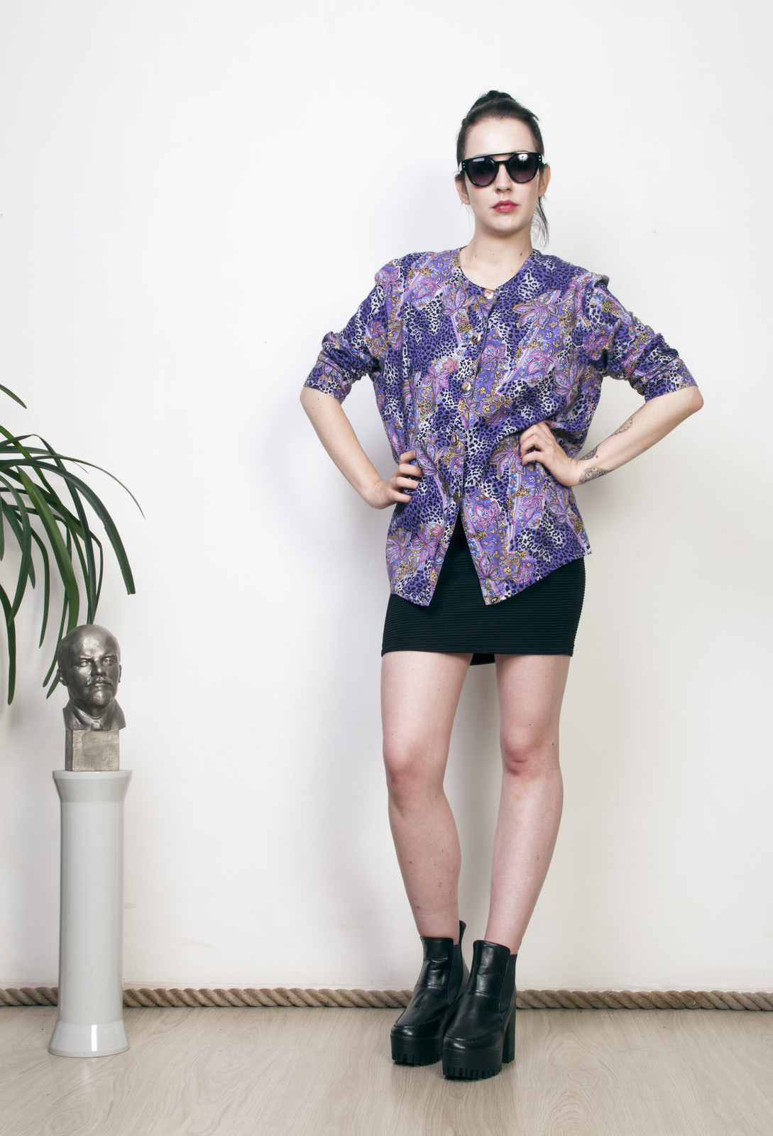 Purple leopard blouse 80s printed oversized vintage top - $32.67