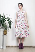 Floral midi dress 50s vintage printed boho festival dress - $36.95
