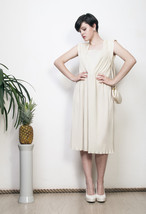 Ecru midi dress 70s classy white pleated cocktail dress - $50.48