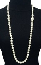 Authentic Chanel Long Pearl & Crystal Ball CC Logo Necklace