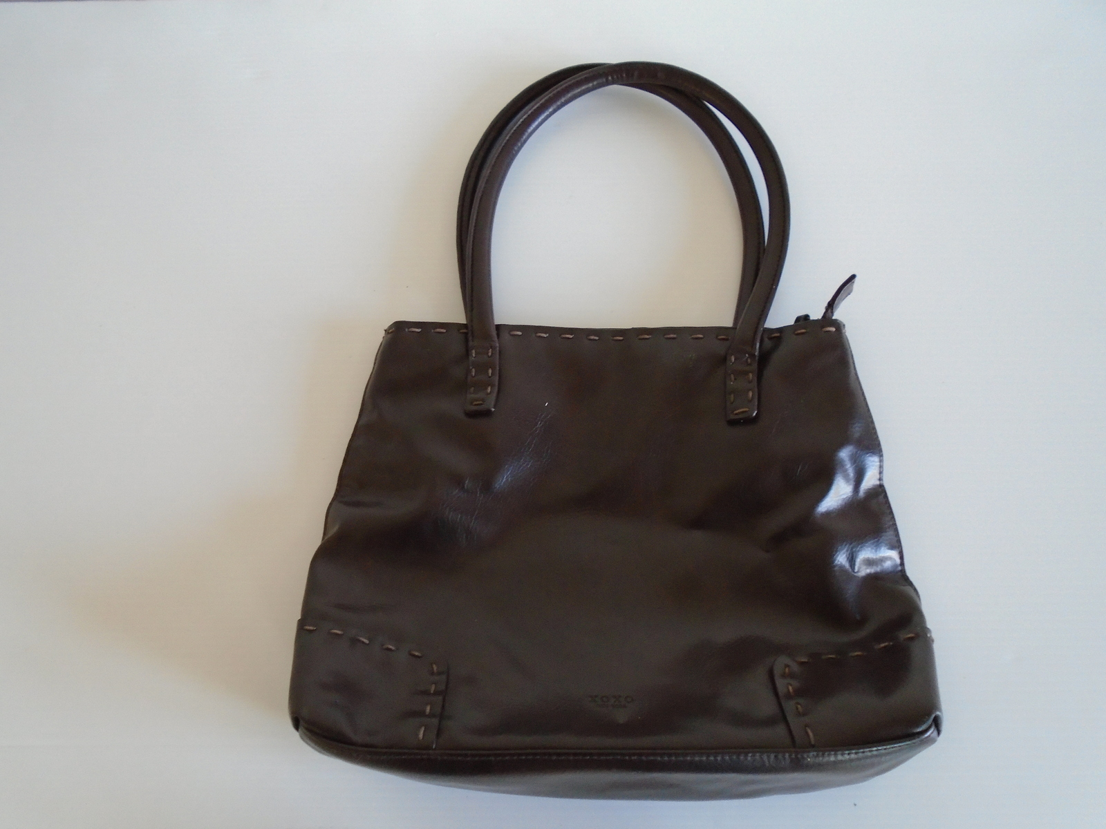 XOXO Faux Leather Dark Brown Medium Size Tote Bag. Ship